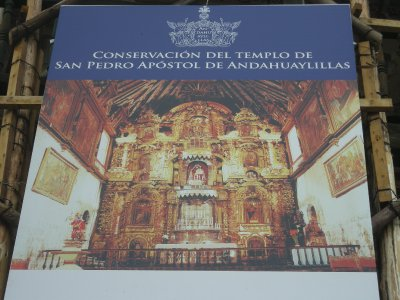 Poster outside the church showing the gold interior