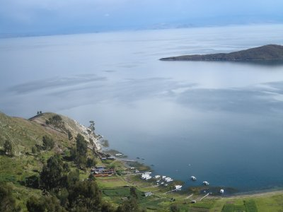 View from the top of Isla del Sol across Lake Titicaca