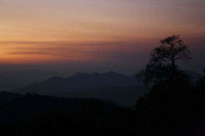 Sunset mountains Mae hong son
