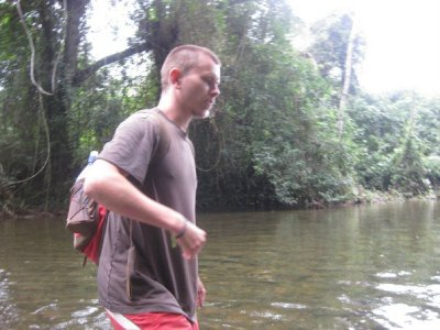Wading in the jungle river 1