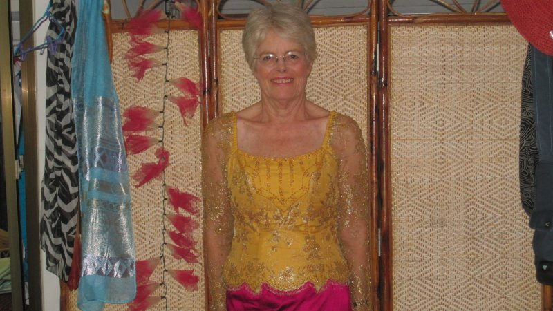 I am in a traditional Khmer blouse
