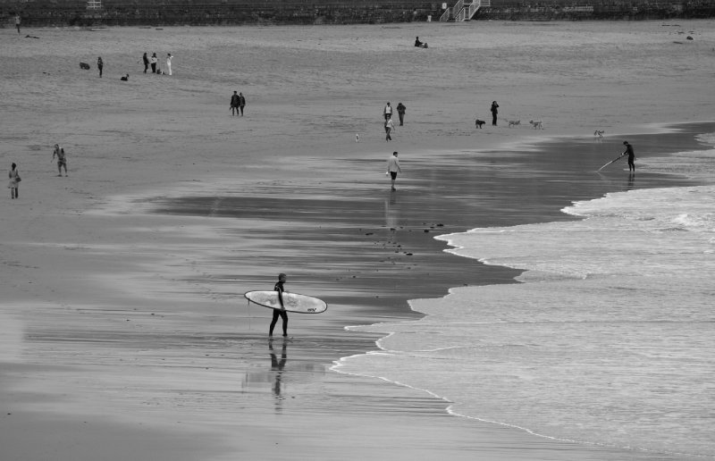 Surfers at Zurriola Beach