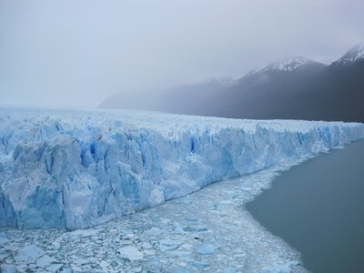 Pieces where the glacier has calved can be seen in the foreground