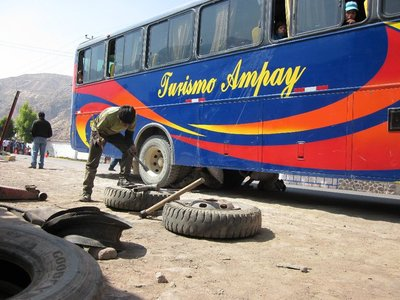 How to fix a tyre....pickaxe probably wouldn´t be my first choice!