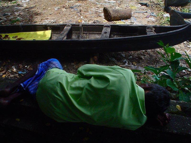 Napping fisherman