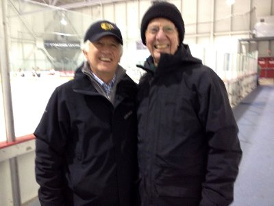 Son and Father at Ethan&#39;s Hockey Game  2012