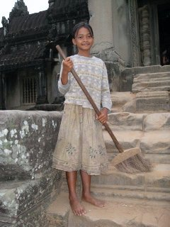 Kyhmer Girl Sweeping at Angkor Wat