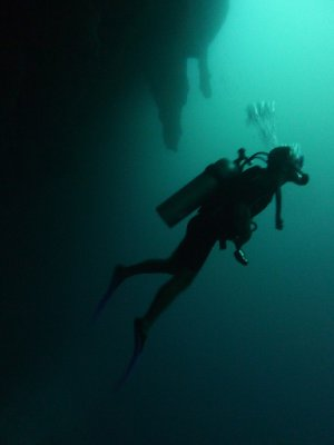 43 metres deep inside the Blue Hole