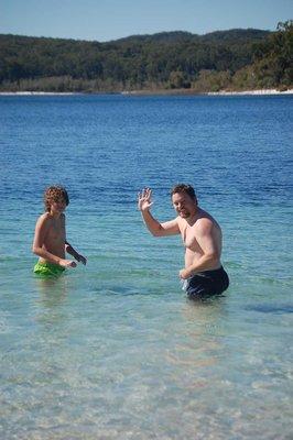 Ayden and Paul in Lake Mackenzie, Frazer Island