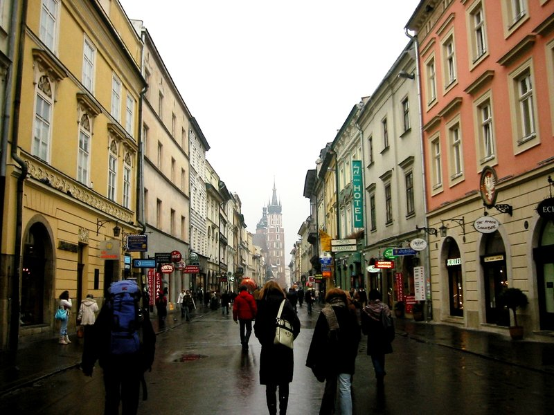 Walking towards St. Mary's Church in Krakow