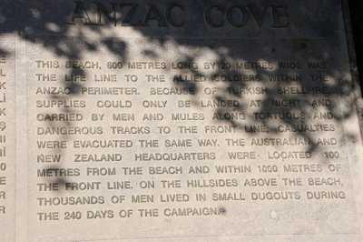 Plaque at Anzac Cove