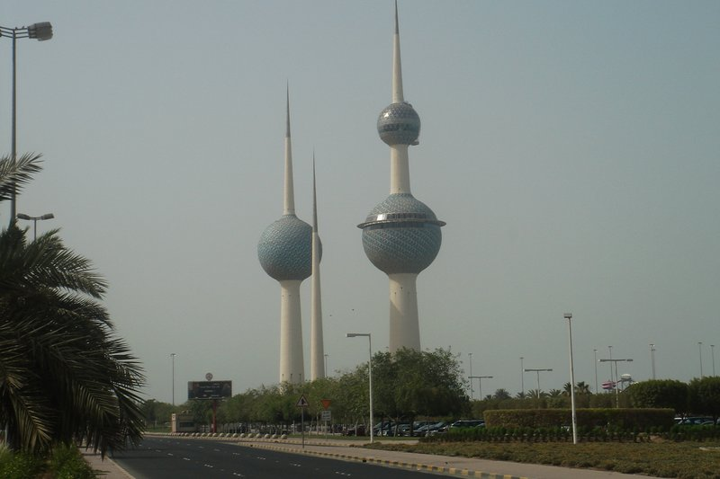 Kuwait Towers from Chilis Rest.