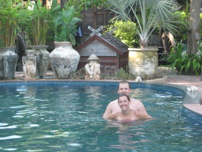 Sarah and Tyler in the pool at The Spa Resort