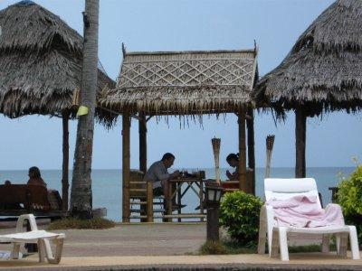 Sarah and Tyler eating at the Blue Adaman Resort
