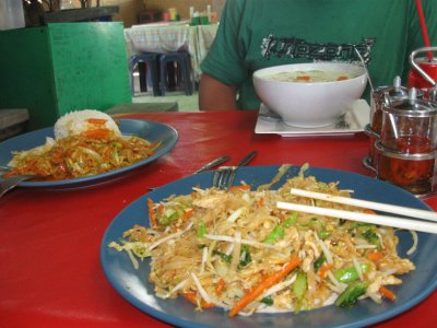 Green Curry Soup, Pad Thai, and Yellow Curry from the Thank You Restaurant on Ko Phi Phi