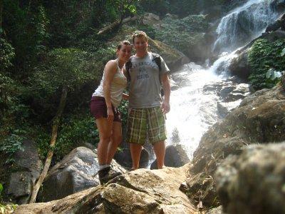 Tyler and Sarah at the Ahka Hill Waterfall