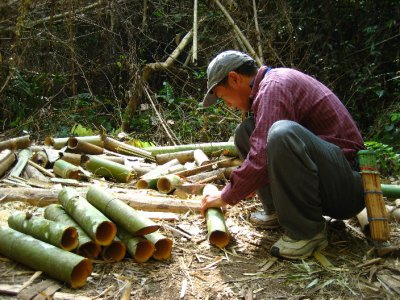 Our guide making bamboo cups for everyone