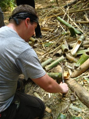 Tyler making a bamboo cup