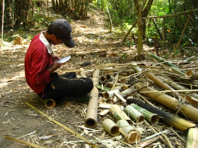 Our guide making bamboo chopsticks for everyone