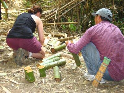 Sarah making a bamboo cup