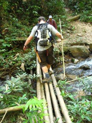 Tyler crossing a bamboo bridge