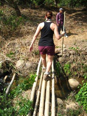 Sarah crossing a bamboo bridge