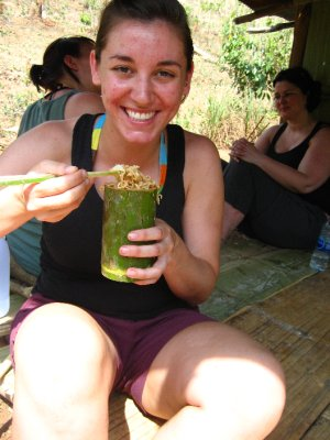 Sarah enjoy the delisous lunch in our homemade bamboo cups