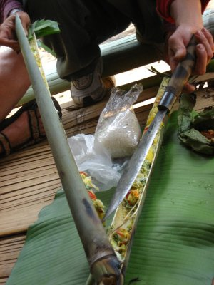 Opening the bamboo to eat our delisous omelet