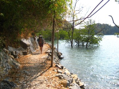 Sarah walking at the east side of Railay Beach