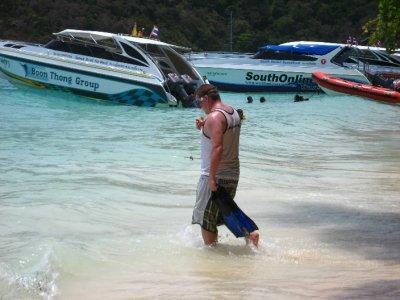 Tyler going Snorkling on Ko Rok Beach