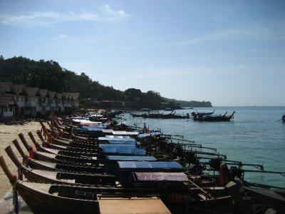 Long-tail boats at Ko Phi Phi Pier
