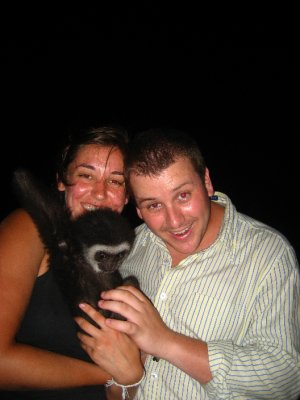 Sarah, Tyler and a monkey