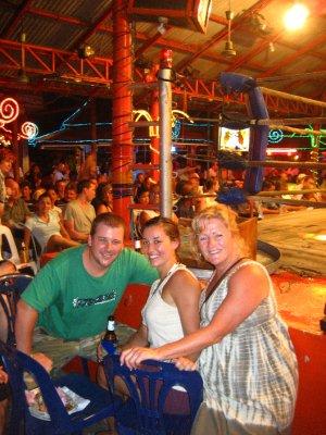 Tyler, Sarah and Pat at the Muay Thai Fight at Lamai Beach