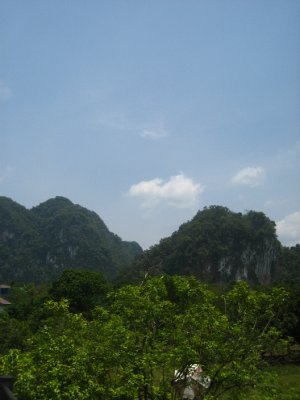 view from our bungalow at Smiley Bungalows in Khao Sok