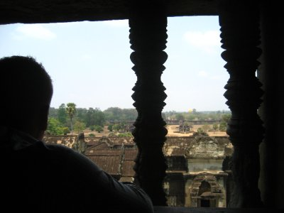 Tyler looking out over Angkor Wat