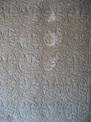 Detailed carvings at Angkor Wat