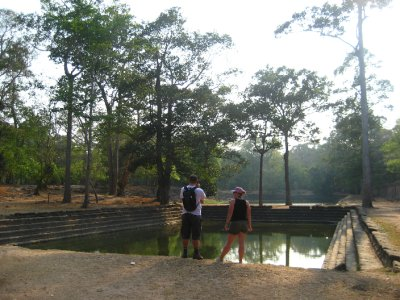Tyler and Clara looking at Baphuon pools