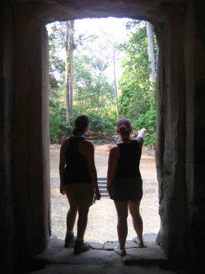 Sarah and Clara at Baphuon