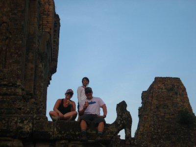 Clara and Tyler watching the sunset at Pre Rup