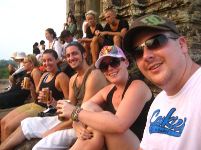 Sarah, Ken, Clara and Tyler watching the sunset at Pre Rup
