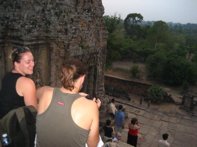 Ken and Clara watching the sunset at Pre Rup
