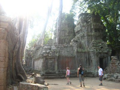 Clara, Ken and Tyler at Ta Prohm