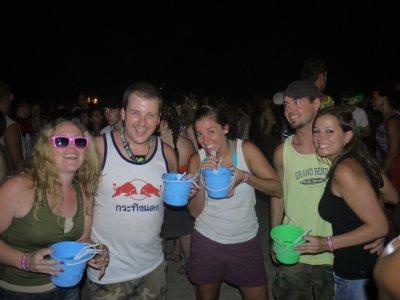 Clara, Tyler, Sarah, Kevin and Jamie at the Full Moon Party