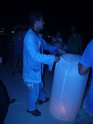 Releasing Lanterns at the Full Moon Party