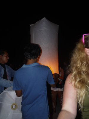 Releasing the Lantern at the Full Moon Party