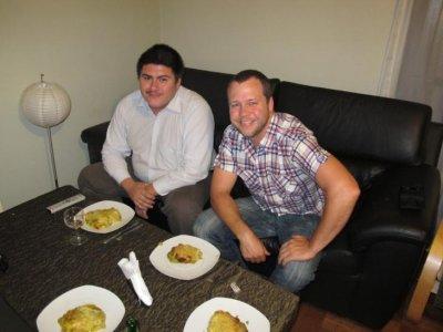 Rod and Ben enjoying the final Shepherd's pie masterpiece!