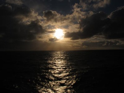 A stormy sunset over the Pacific Ocean