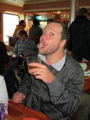 Ben enjoying glacier ice in his whisky!