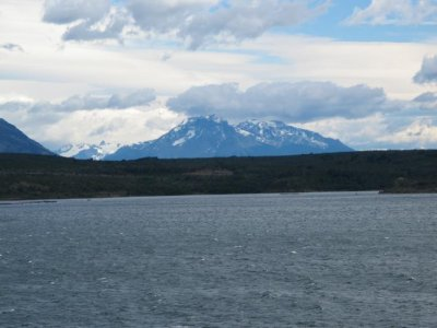 Passing snow capped mountains