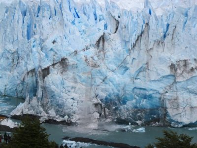 The glacier is constantly carving with a thunderous noise as huge chunks of ice break off